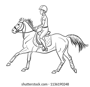 An young rider on a pony. Equestrian, horsemanship.