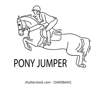 Young rider and pony jump, equestrian sport