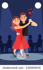 Young romantic couple dancing tango under bright spotlights. Silhouettes of people on background. Flat vector design