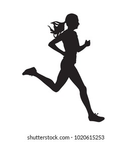 Young running woman, isolated vector silhouette. Run, side view