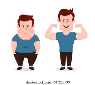 Young sad fat obesity and sport fitness happy muscular man.guy muscles biceps. Vector flat illustration character loss design.Isolated on white background.Bodybuilding muscle before after concept