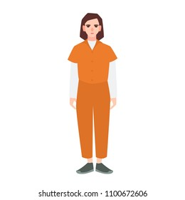 Young sad woman dressed in orange prisoner uniform isolated on white background. Suspect, convicted criminal, arrested or punished person. Flat female cartoon character. Vector illustration