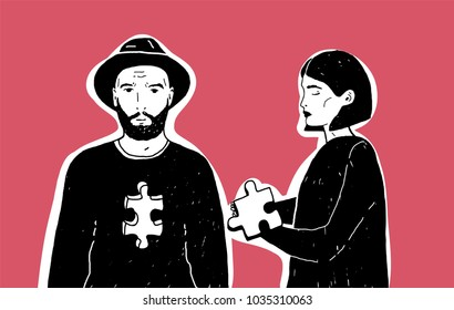 Young sad woman holding jigsaw puzzle piece and man in hat with notch of different shape in his chest. Concept of unrequited, one-sided or rejected love. Modern hand drawn vector illustration.
