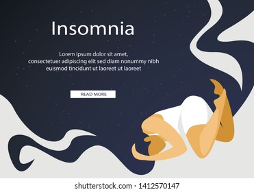 Young Sad and Worried Woman Suffering Insomnia and Sleeping Disorder Problem Unable to Sleep Late at Night Lying on Bed Awake Feeling Stressed. Cartoon Flat Vector Illustration, Horizontal Banner