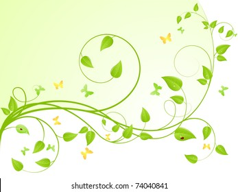 Young sapling with butterflies and ladybird. Vector background, isolated on a white.