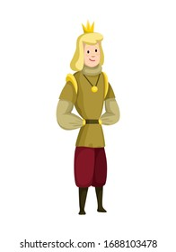 Young sartoon king wearing crown and mantle. Color