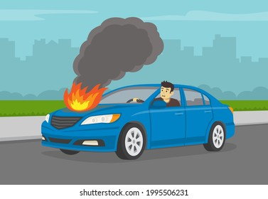 Young scared driver driving his broken sedan car on city road. Burning car engine hood. Perspective view. Flat vector illustration template.