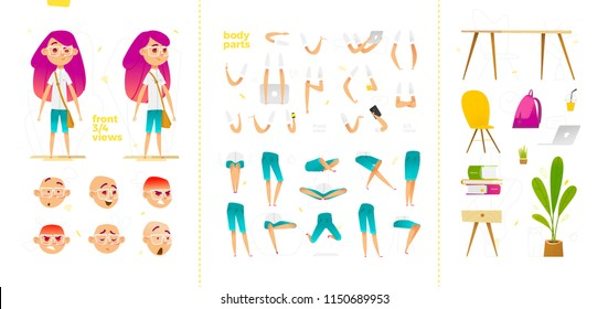 Young school girl character for your print, web and motion design