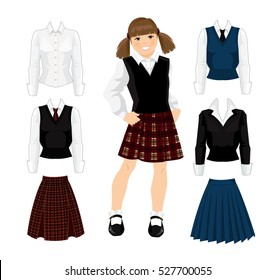 Young school or student girl in uniform. Skirt with tartan pattern