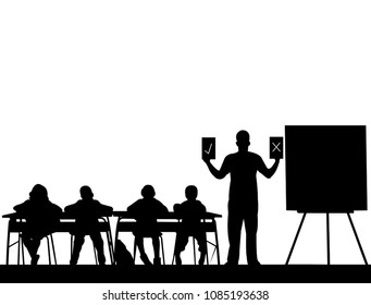 Young school teacher teaches the students and offers them a choice between correct or incorrect answer, one in the series of similar images silhouette
