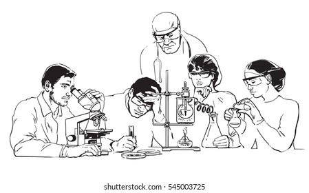 Young scientists working in the research laboratory under the guidance of senior doctor. Healthcare concept. Hand drawn vector illustration in sketch style isolated on white background.