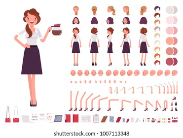 Young secretary character creation set. Lady works in office with correspondence. Full length, different views, emotions, gestures. Build your own design. Cartoon flat style infographic illustration