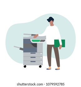 Young secretary making photocopies on xerox machine in office.Vector illustration cartoon character