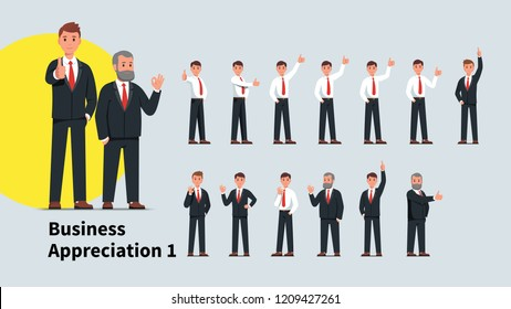 Young & senior business men showing thumb up gesture and OK sign set. Successful business people characters standing gesturing businessman showing positive feedback. Flat isolated vector illustration