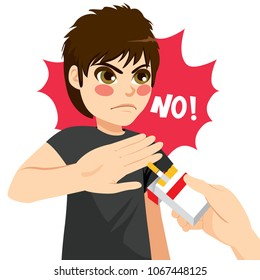 Young serious angry teenager boy refusing tobacco