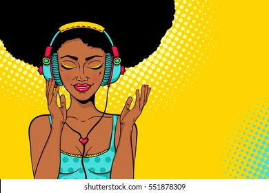 Young sexy african american woman with open smile and closed eyes in headphones listening to the music. Vector colorful background in pop art retro comic style. Party invitation poster.