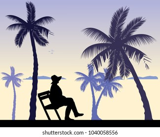 Young sexy girl sitting on the beach on a bench and waiting for someone, one in the series of similar images silhouette