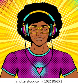 Young sexy man with afro hairstyle, smile and closed eyes in brighy glasses and headphones listening to the music. Vector colorful background in pop art retro comic style. Party invitation poster.