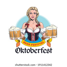 Young sexy Oktoberfest waitress, wearing a traditional Bavarian dress, serving six beer mugs. Attractive blonde german woman. Pinup style vector illustration.