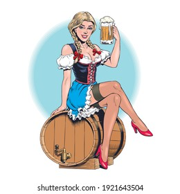 Young sexy Oktoberfest waitress, wearing a traditional Bavarian dress, sitting on barrel of beer and holding a beer mug. Attractive blonde german woman. Pinup style vector illustration.