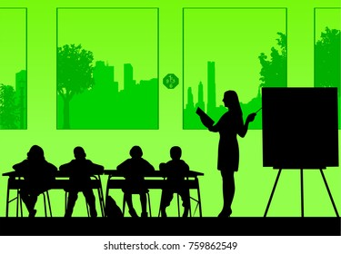 Young sexy school teacher with book in the class teach your students silhouette, one in the series of similar images