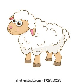 Young Sheep. Cartoon character Lamb isolated on white background. Template of cute farm animal. Education card for kids learning animals. Suitable for decoration and design. Vector in cartoon style