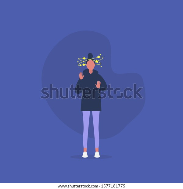Young shocked female character having stars spinning around h head, vertigo conceptual illustration