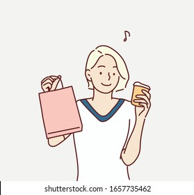 Young shopper in casualwear holding drink and paperbags while having break after seasonal shopping in the mall. Hand drawn style vector design illustrations.