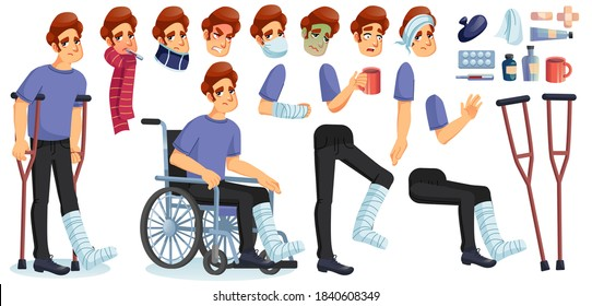 Young sick, disabled or injured man animated character creation set. Male person suffering from different disease, fever, flu, trauma body fracture. Medicines, healing tools, mobility device kit