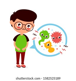 Young sick man having stomach ache, food poisoning, stomach problems, abdominal pain. Vector flat cartoon character illustration.Medical,Bacteria, germs concept