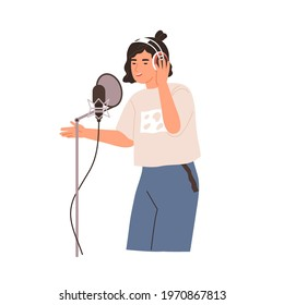 Young singer singing and recording song with professional studio mic and headset. Voice record of modern vocalist. Colored flat vector illustration of pop musician isolated on white background