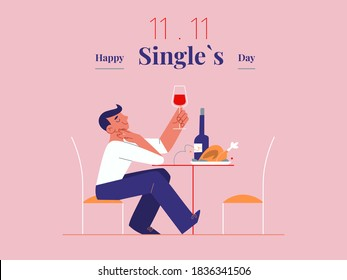 Young single man is celebrating Singles day - November 11 - with wine and roast banner template. Holiday for bachelors, which opens Chinese shopping season. Social and cultural trends.