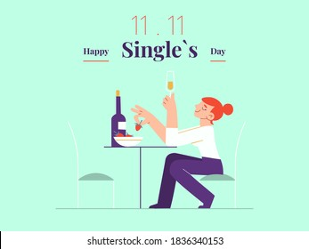 Young single woman is celebrating Singles day - November 11 - with white wine and strawberry banner template. Holiday for bachelors, which opens Chinese shopping season. Social and cultural trends.
