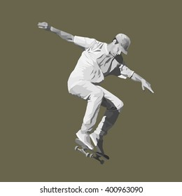 young skateboarder doing a jumping trick, black-and-white vector illustration.