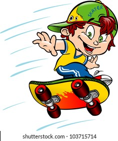 Young skateboarder, jump on a skateboard. vector