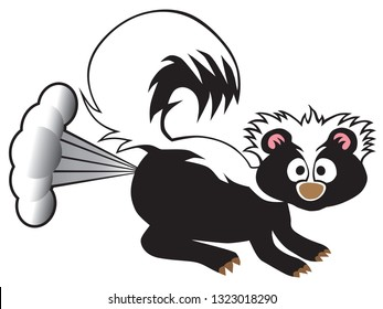 A young skunk has been startled into using his defensive spray