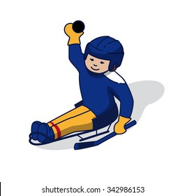 Young sledge hockey player