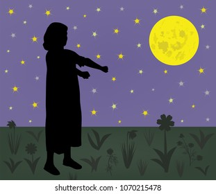 Young sleepwalker girl suffering from somnambulism walking on meadow at night