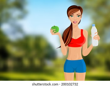 Young slim sport fitness girl with apple and water bottle portrait on outdoor background vector illustration