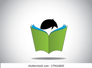 young smart boy kid reading 3d green open book education concept. black haired child with big book studying or learning for exams or for fun. learn or educate vector illustration art