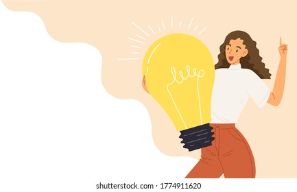 Young smart female holding bright light bulb. Concept of creative idea, smart worker, education, advertisement, figure out, blank template presentation, leaning, business. Flat vector illustration