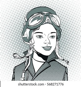 Young smiling aviator. Girl pilot. Woman pilot. Air sport. Smiling pilot. Concept idea of advertisement and promo. Halftone background. Pop art retro style illustration.