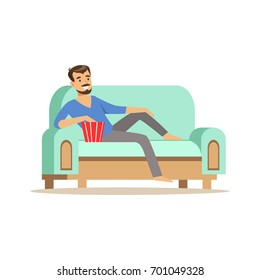 Young smiling bearded man lying on a ligh blue sofa, watching TV and eating popcorn, male resting at home vector Illustration