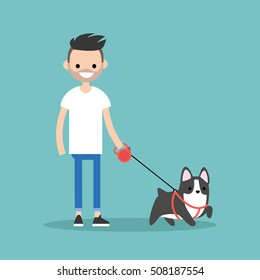 Young smiling bearded man walking the dog / flat editable vector illustration