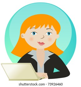 Young smiling business woman working with laptop