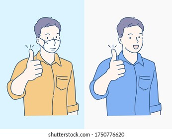 Young smiling businessman full body thumbs up, he wearing a medical mask. Virus protection concept idea. Hand drawn in thin line style, vector illustrations. (A Mask can be removable)