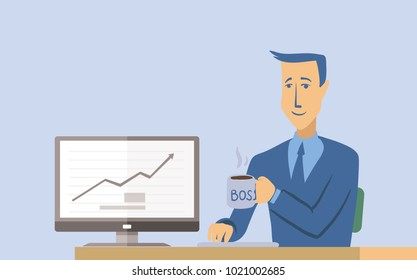 A young smiling businessman or office worker sitting at a table and working at a computer. Man character illustration, isolated on white background.