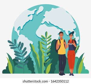 Young, smiling couple with backpacks. Travel, vacation, holidays and adventure vector concept illustration. Summer landscape background. Poster design style