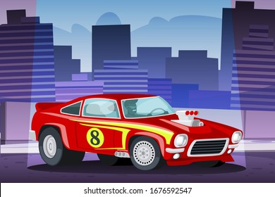 Young smiling guy sitting in futuristic racing car on neon city background. Cyberpunk fantasy. Flat vector illustration.