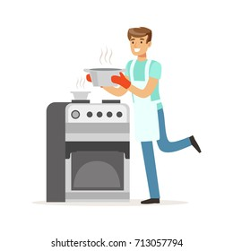 Young smiling man cooking in the kitchen, house husband working at home vector Illustration